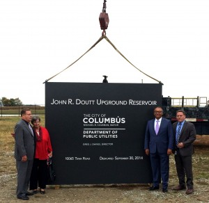 """Columbus Mayor unveils DaNite Sign Company's latest monument sign at the John R. Doutt Upground Reservoir in Richwood, OH, saying, """"No drought with Doutt""""!"""