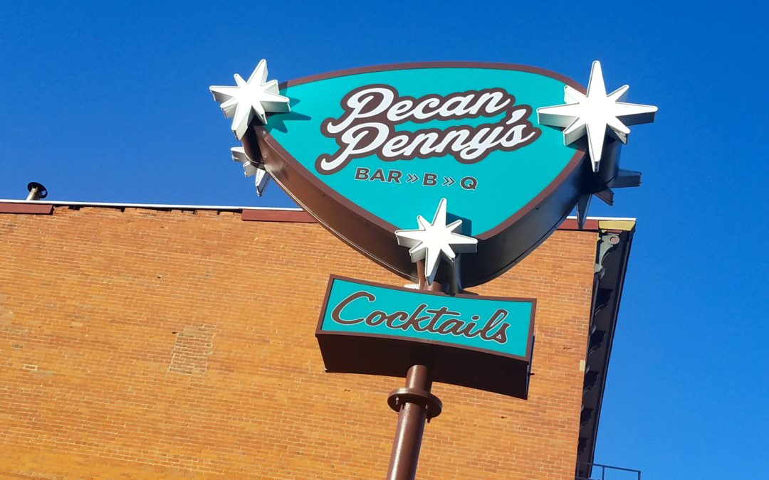 Pecan Penny's Bar>B>Q opens in Columbus with a Custom Menu & Custom Signs